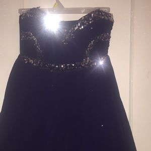 Strapless Navy Blue Sequined Dress SIZE 3
